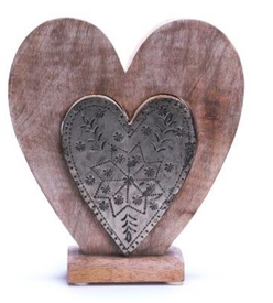 Wood And Metal Heart 20cm