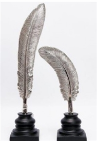 DUE JUNE Set Of 2 Silver Feathers On Wooden Bases