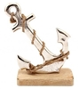 Silver Anchor on Wooden Base 18cm