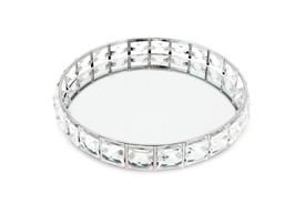 Silver Mirror Tray with Clear Beads 21cm