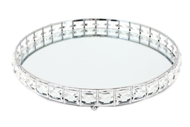 Silver Mirror Tray with Clear Beads 31cm