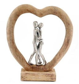 Silver Couple In Wood Heart 35cm