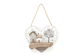 Wooden Houses Heart Sign