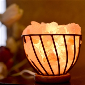 Salt Lamp Metal Bowl With Chips 15cm