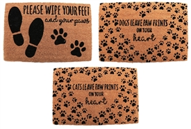 Pet Themed Doormat 3 Asst