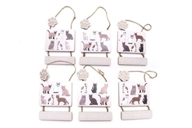 Hanging Cat Plaque 6 Assorted 25cm