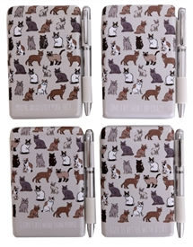Cat Mini Notepad & Pen Set 4 Asst