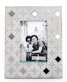 Grey Washed Wooden Photo Frame With Geo Diamond Print