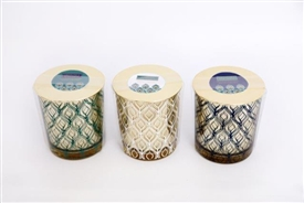 Peacock Candle Pot 3 Assorted 10cm
