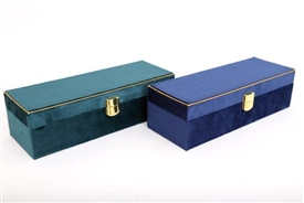 Peacock Velvet Jewellery Box 2 Assorted 28cm