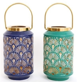 Metal Peacock Lantern 2 Assorted 18cm