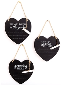 Potting Shed Heart Plaque with Chalk 3 Asst