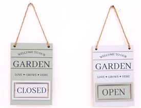 Potting Shed Open Closed Rotating Sign 2 Asst