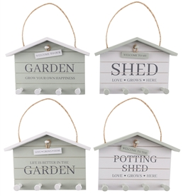 Potting Shed Hanging Hooks Plaque 4 Asst