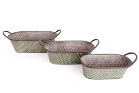 S/3 Antique Green Metal Oval Planters