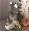 LED Praying Cherub 23cm Left Facing