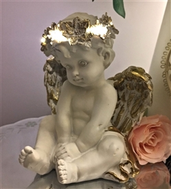 REDUCED LED Cherub 23cm Hands in Lap