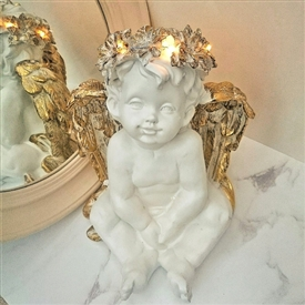 SPECIAL OFFER (Was £12.35) LED Cherub Hands in Lap 27cm