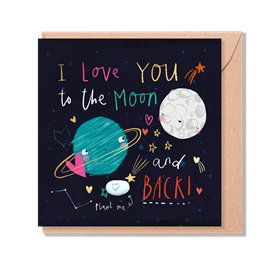 Card With Magic Growing Bean - Moon & Back