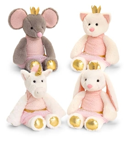28cm Plush Sitting Animal Teddies 4 Assorted