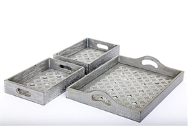 Grey Washed Wooden Trays With Geo Diamond Print Set Of 3