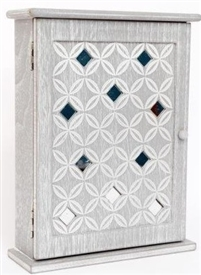 Grey Washed Wooden Key Box With Geo Diamond Print