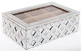 Grey Washed Wooden Tea Storage Box With Geo Diamond Print 24cm