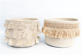 Aztec Tassel Storage Basket 2 Assorted
