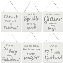 Silver Glitter Mini Sign 6 Assorted