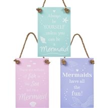 REDUCED Hanging Pastel Mermaid Sign 3 Assorted 18cm