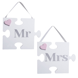 Pair Of Mr And Mrs Jigsaw Themed Plaques