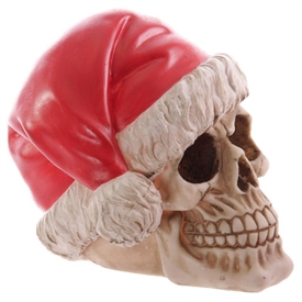 Festive Resin Skull Decoration 15.5cm