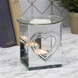 Oil burner with Silver Glitter Heart Design Sparks