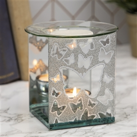 Silver Glitter Butterfly Oil Burner