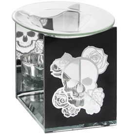 Glass Oil Burner Skull & Roses Sparks Gifts