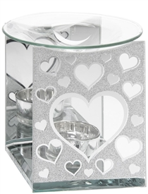 Silver Glitter Hearts Glass Oil Burner