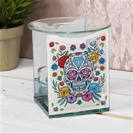Floral Skull Glass Wax Melter / Oil Burner