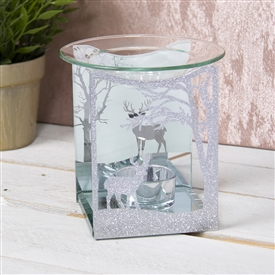 Silver Glitter Reindeer Glass Wax Melter / Oil Burner
