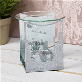 Silver Glitter Winter Wonderland Glass Wax Melter / Oil Burner