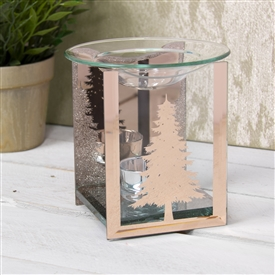 Rosegold Fir Tree Glass Wax Melter / Oil Burner