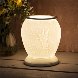 Large Porcelain Etched Aroma Lamp - Fairy Make a Wish