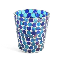 Blue Mosaic Glass Tealight Holder - Medium