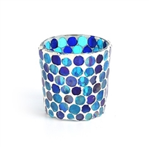 Blue Mosaic Glass Tealight Holder - Small