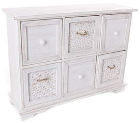 Rustic White Washed Wooden 6 Draw Cabinet With Jute Effect