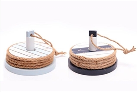 Nautical Theme Set Of 4 Wooden Coasters With Holder