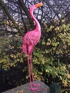 Bright Metal Flamingo with Head Up