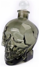 Smoky Moulded Skull Drinks Decanter With Lid