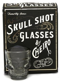 Set Of 4 Clear Glass Moulded Skull Shot Glasses