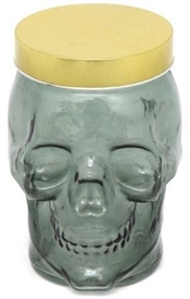 Green Glass Biscuit Jar in the Shape Of a Skull