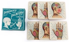 Set Of 6 Wooden Phrenology And Palmistry Design Coasters